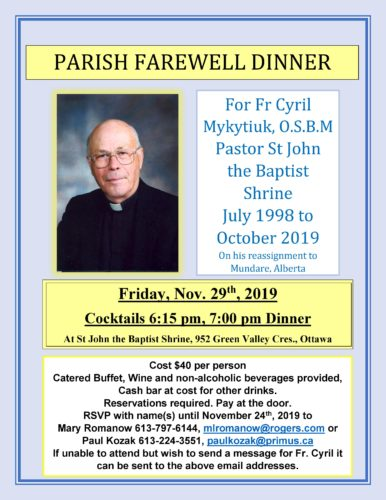 Farewell Dinner for Fr. Cyril
